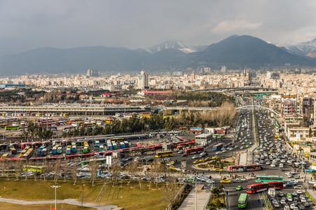Tehran skyline during revolution day anniversary. Iran, 2016