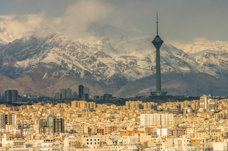 Tehran skyline during revolution day anniversary. Iran, 2016