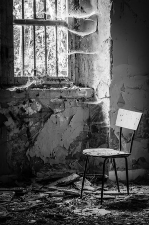 cruel: Volterra, Italy - September 2016: Abandoned psychiatric hospital in Volterra. It was home to more than 6,000 mental patients but was shut down in 1978 because its practices were deemed cruel. The hospital was called the place of no return because patien