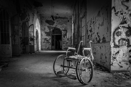 abandoned room: Volterra, Italy - September 2016: Abandoned psychiatric hospital in Volterra. It was home to more than 6,000 mental patients but was shut down in 1978 because its practices were deemed cruel. The hospital was called the place of no return because patien