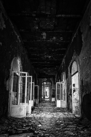 deemed: Volterra, Italy - September 2016: Abandoned psychiatric hospital in Volterra. It was home to more than 6,000 mental patients but was shut down in 1978 because its practices were deemed cruel. The hospital was called the place of no return because patien