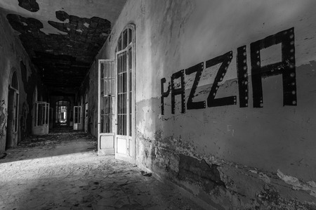 sanitarium: Volterra, Italy - September 2016: Abandoned psychiatric hospital in Volterra. It was home to more than 6,000 mental patients but was shut down in 1978 because its practices were deemed cruel. The hospital was called the place of no return because patien