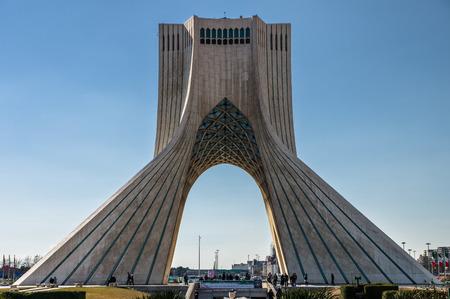 Teheran, Iran - February 2016 - Azadi Tower, one ofe the most important monument in Teheran on winter. Iran, 2016 Editorial