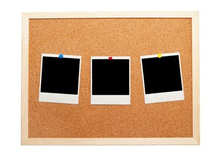 Blank instant photos on a corkboard Stock Photo - 9923892