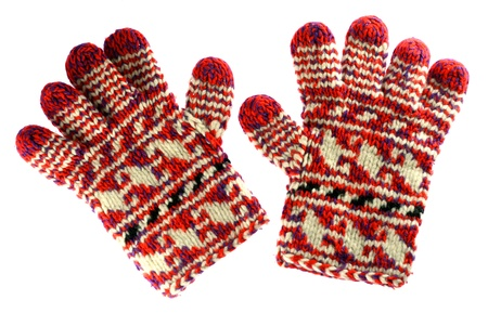 kesztyű: Winter piros kesztyű, elszigetelt, fehér