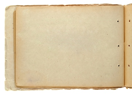 yellowed: Open vintage notepad isolated on white