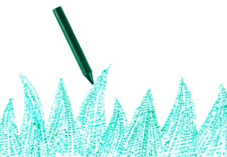 Green crayon with drawn grass close-up Stock Photo - 10464852