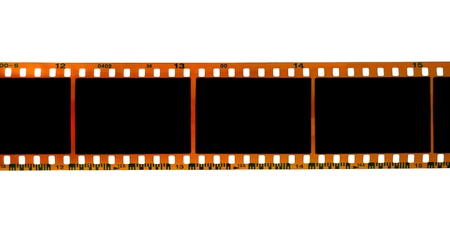 film negative: 35mm filmstrip isolated on white background