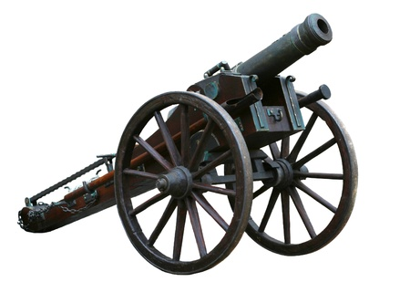 Ancient cannon isolated on white background photo