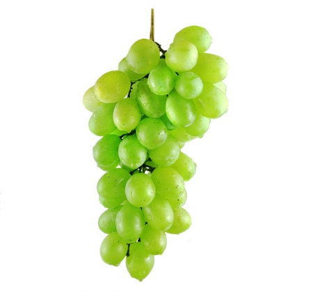 Wet grape bunch isolated on white background Фото со стока