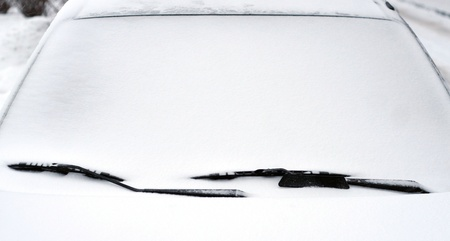 frost covered: Snow-covered car windshield Stock Photo