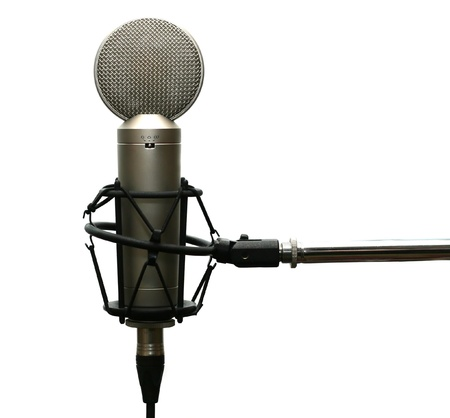 Studio microphone on stand isolated on white Фото со стока