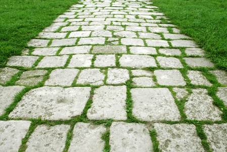 Stone walkway on a grassy field photo