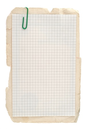 lined: Checked notebook paper on old grungy cardboard background Stock Photo