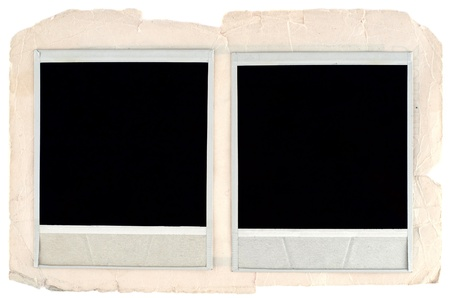 Blank photo frames on old cardboard background photo