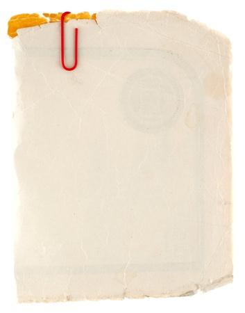 bordure de page: Vieux carton grungy isol� sur blanc