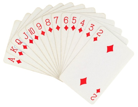 Playing cards isolated on white background photo