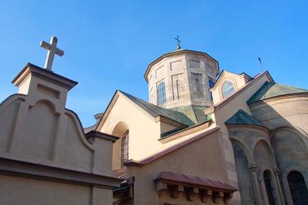 Ancient Armenian church in Lviv, Ukraine photo