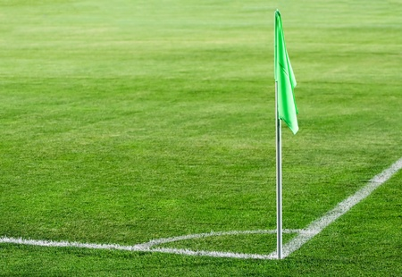 Corner flag on an soccer field Stock Photo