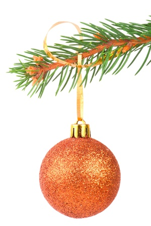 Christmas ball on a fir tree branch on white background photo