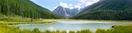 panoramic view: Panoramic summer view of mountains and lake in Altay, Russia