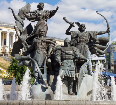 Monument of City-founders at Independence Square in Kiev, Ukraine