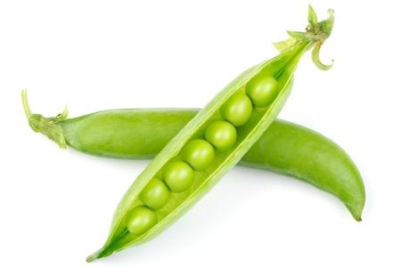 Fresh green pea pod isolated on white background photo