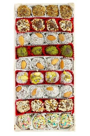 locum: Assorted Turkish Delight bars in a box (Lokum soft candies) Stock Photo