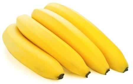 Ripe bananas on white background photo