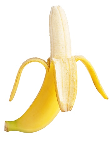 Ripe banana on white background photo
