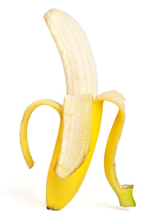 Ripe bananas on white background photo