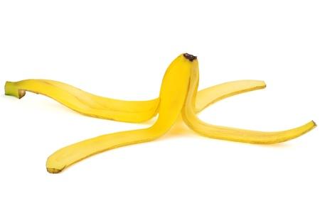 banana peel: Ripe banana peel isolated on white