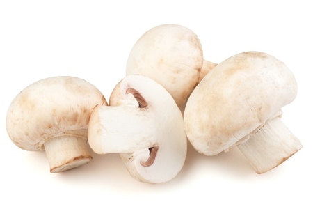 Champignon mushrooms on white backround