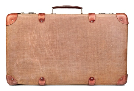 maleta: Vintage maleta marr�n aisladas sobre fondo blanco Foto de archivo
