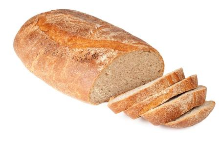 буханка: Ломтики хлеба каравай на белом фоне Фото со стока