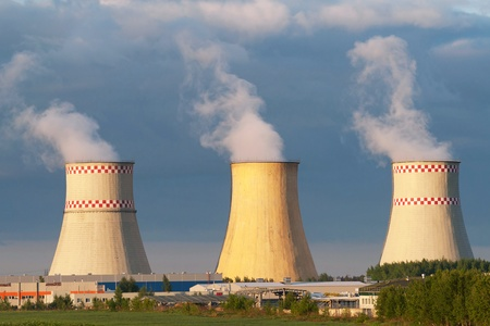 npp: Power plant cooling towers against blue sky