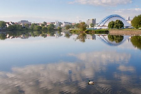 svisloch: Nemiga district and Svisloch river in Minsk, Belarus Editorial