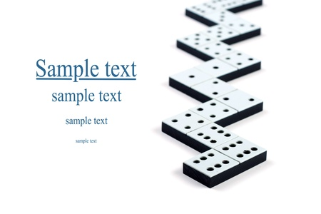chain reaction: Domino pieces in a line or zigzag on white background Stock Photo