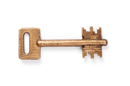 Vintage key on white background Stock Photo - 11411674