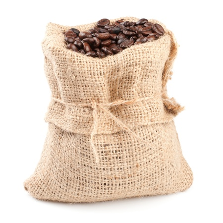 Roasted coffee beans in a canvas sack