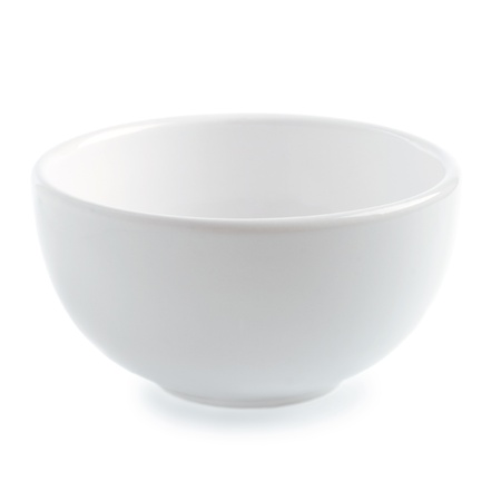 White ceramic bowl on white background photo