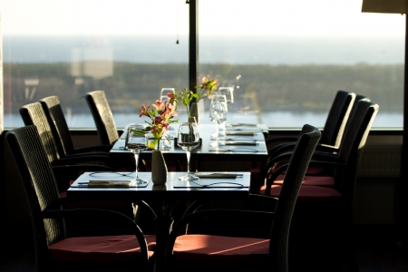 Modern restaurant interior with scenic seaside view Stock Photo - 16068959