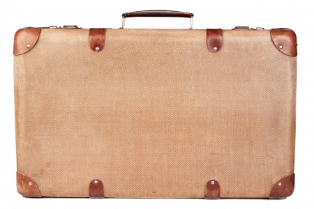 case: Vintage brown suitcase isolated over white background