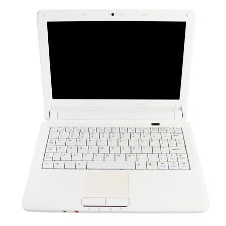 noname: White open laptop with black screen on white background