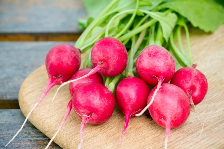 Fresh radishes on a wooden cutting board photo