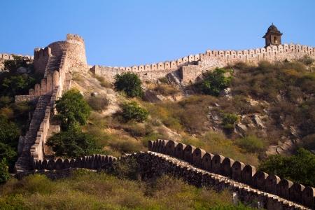 Ancient walls near Amber Fort. Jaipur, Rajasthan, India