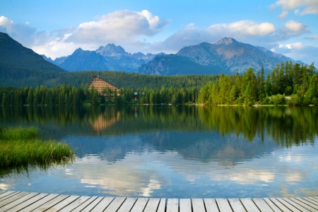 Strbske Pleso, beautiful lake in High Tatras mountains, Slovakia photo