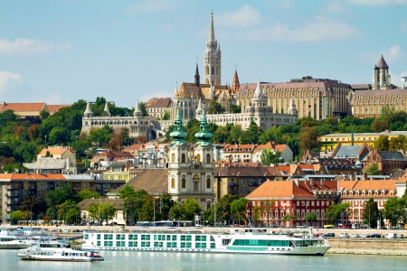 View of Buda side of Budapest with the Buda Castle, St. Matthias and Fishermens Bastion
