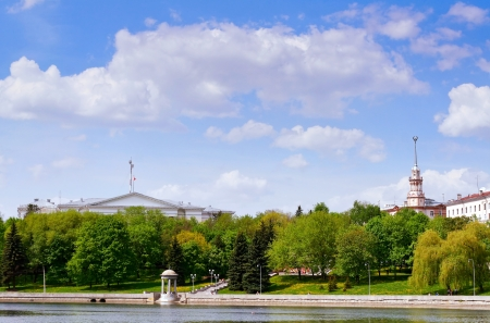 svisloch: View at the Svisloch river and green summer park in Minsk, Belarus Stock Photo