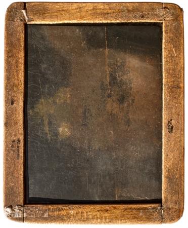 chalk writing: Vintage slake blackboard isolated on white Stock Photo